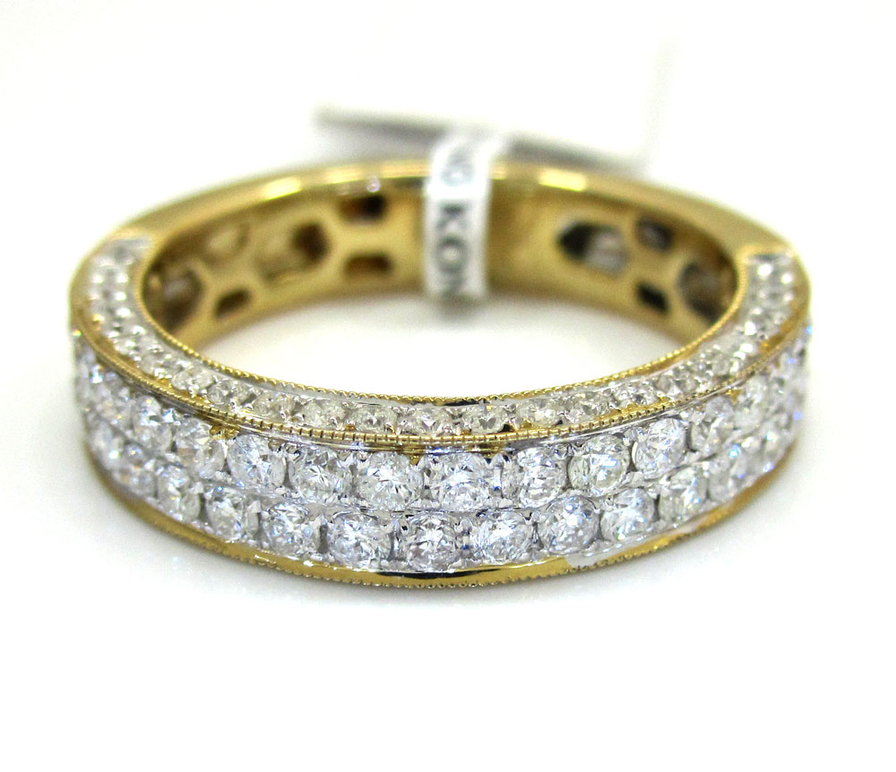 18k gold diamond unisex wedding band ring 1.32ct