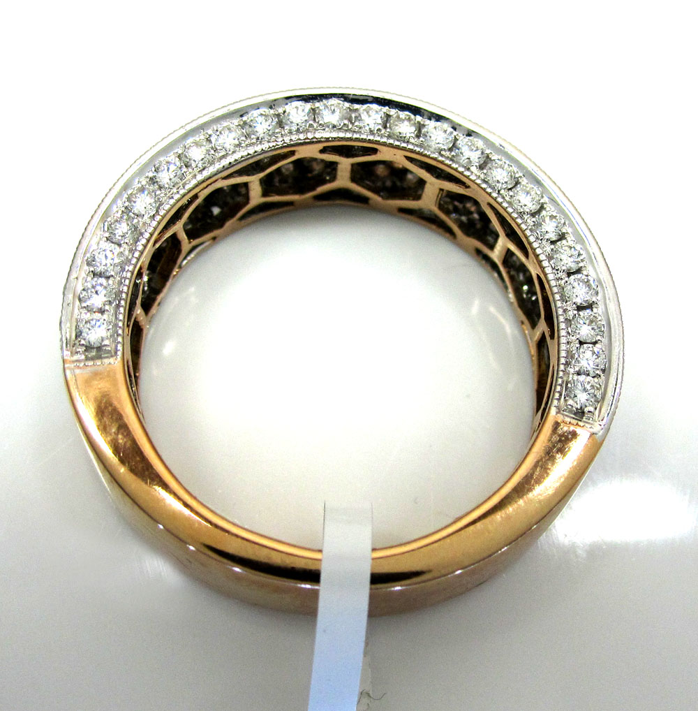 18k gold four diamond row wedding band ring 2.13ct