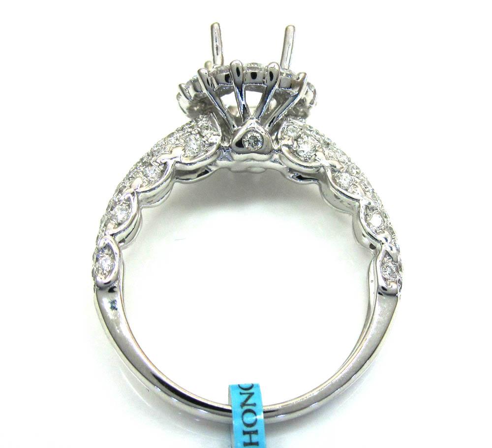 18k white gold diamond halo engagement ring 1.30ct
