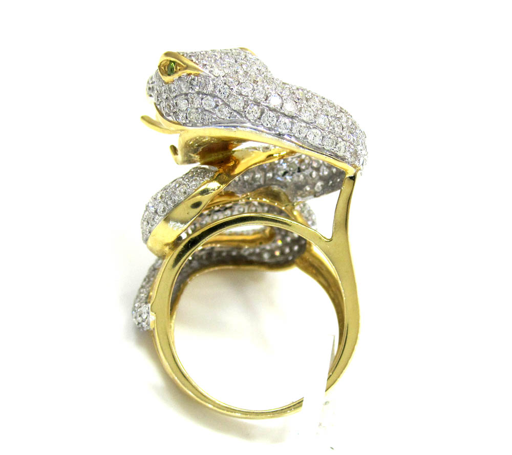 18k yellow gold diamond snake ring 4.40ct