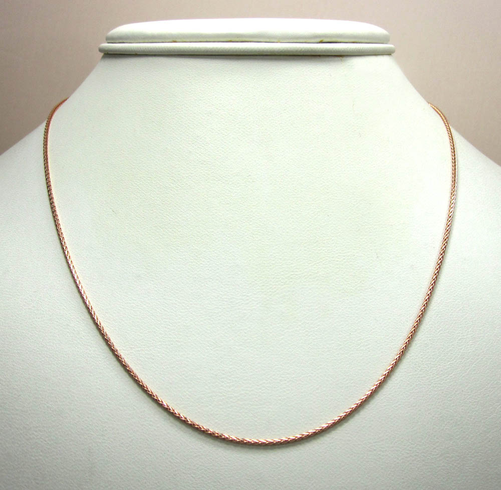 14k rose gold wheat solid chain 16-24 inch 1.2mm