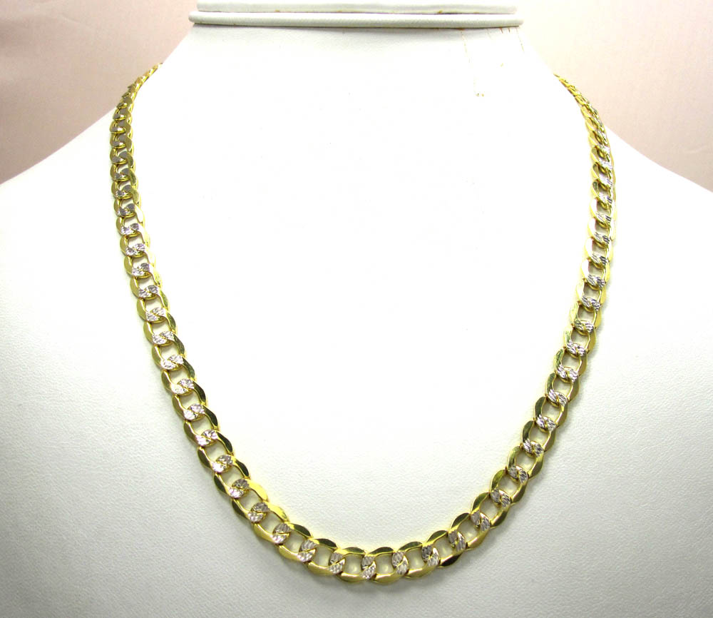 10k yellow gold diamond cut cuban chain 22-30 inch 6.7mm