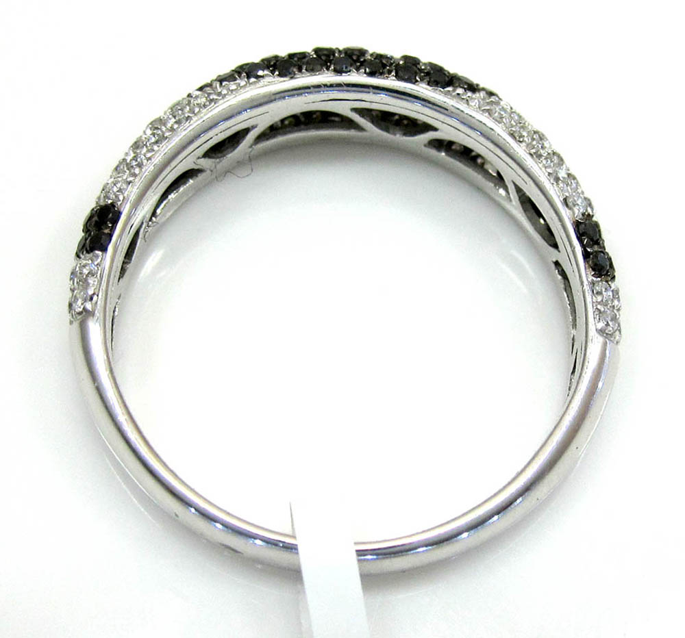 Ladies 14k white gold black & white diamond wave cocktail ring 0.71ct