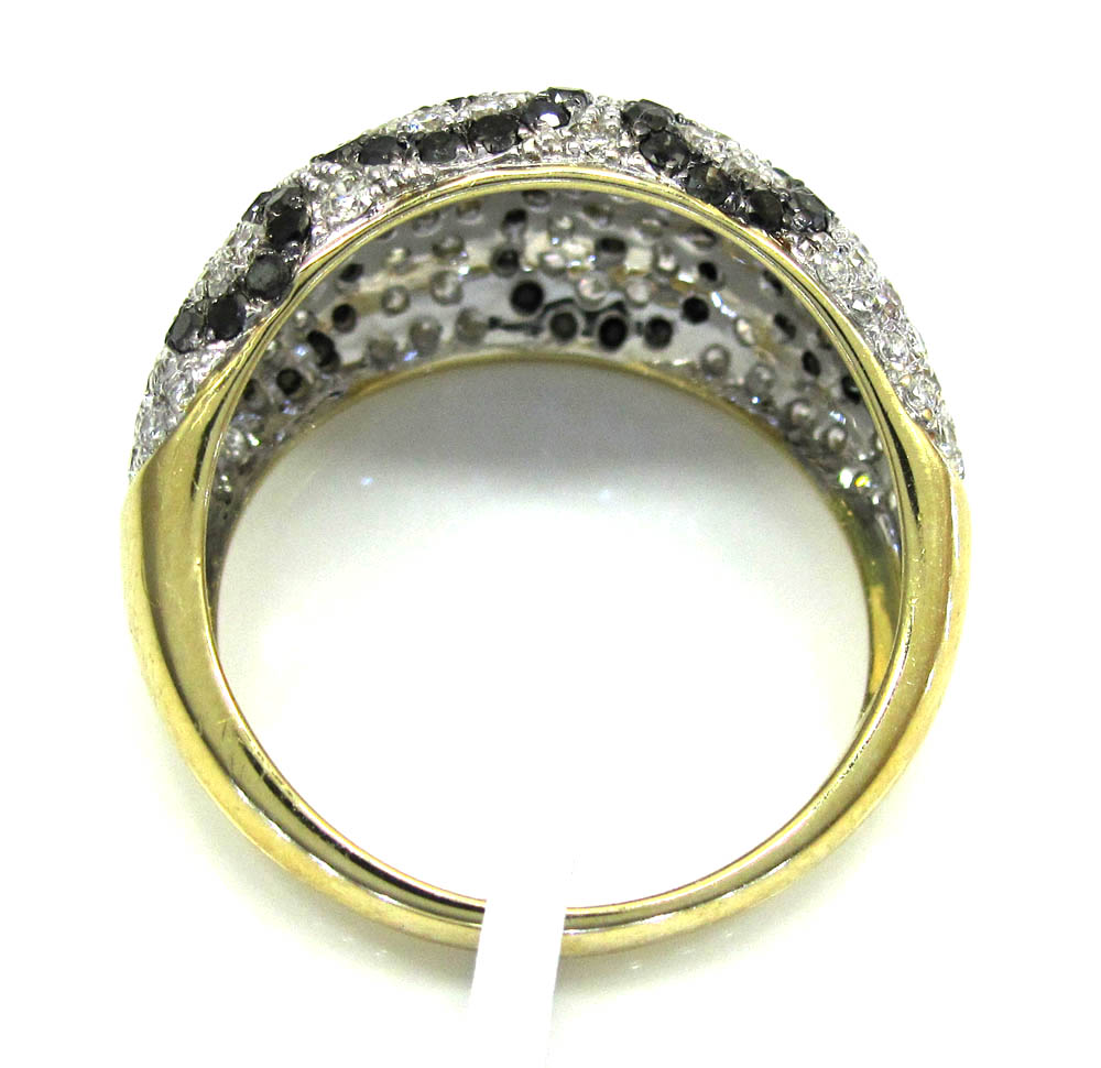 Ladies 14k yellow gold black & white diamond spot dome shaped ring 1.86ct