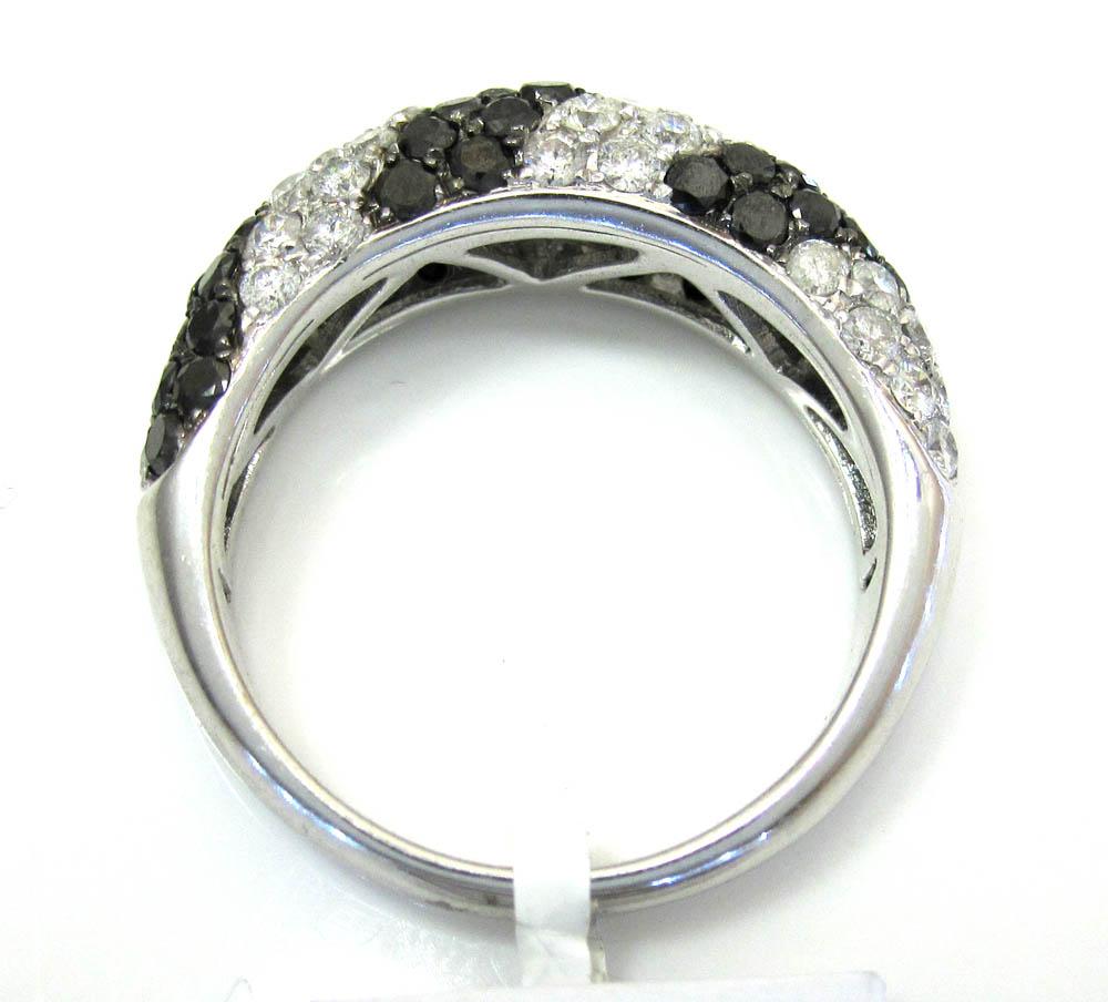 Ladies 14k white gold black & white diamond zebra cocktail ring 2.25ct