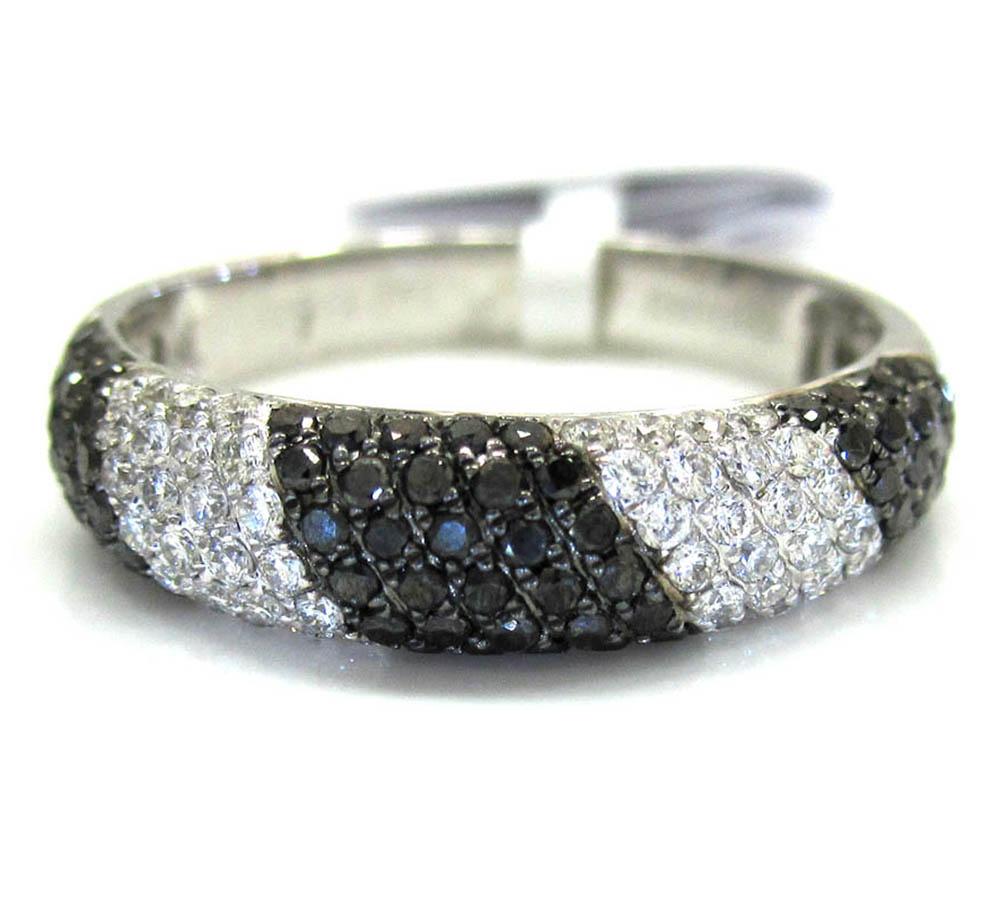 Ladies 14k white gold black & white diamond zebra cocktail ring 0.70ct