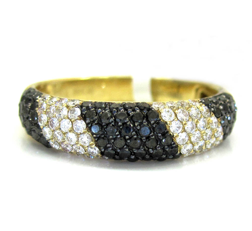 Ladies 14k yellow gold black & white diamond zebra cocktail ring 0.75ct