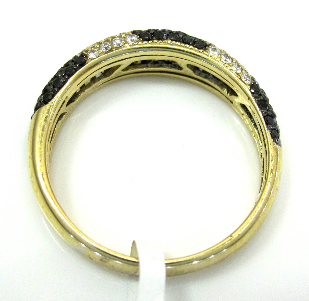 Ladies 14k yellow gold black & white diamond zebra cocktail ring 0.75ct
