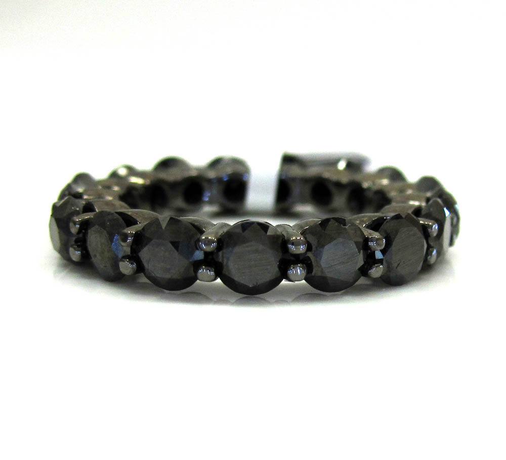 Ladies 14k black gold black diamond eternity wedding band ring 5.84ct