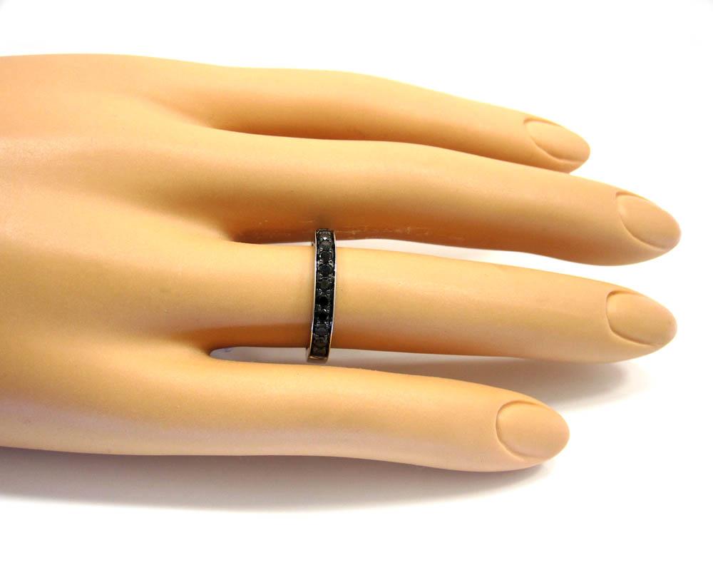 Ladies 14k white gold black diamond wedding band 0.47ct