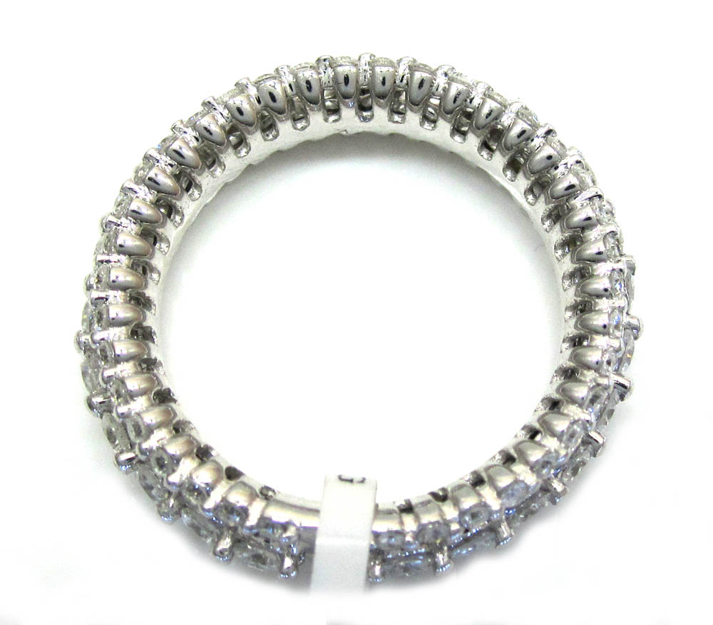 Ladies 14k white gold white diamond prong eternity wedding band ring 1.63ct
