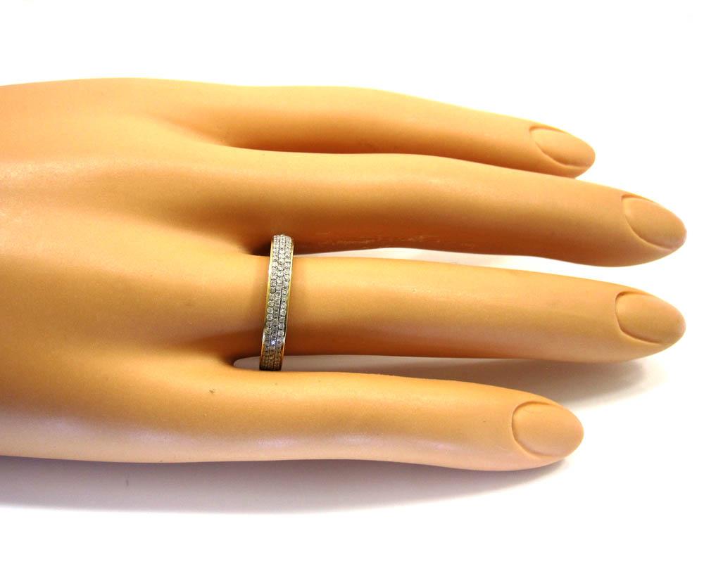 Ladies 14k yellow gold tri diamond eternity wedding band ring 0.59ct