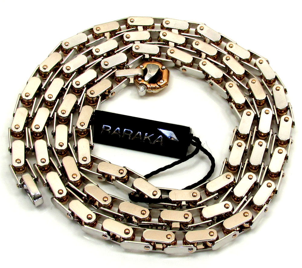 Mens baraka 18k rose & white gold diamond cylinder chain 0.02ct