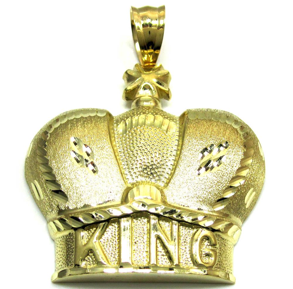 10k gold diamond cut xl kings crown pendant