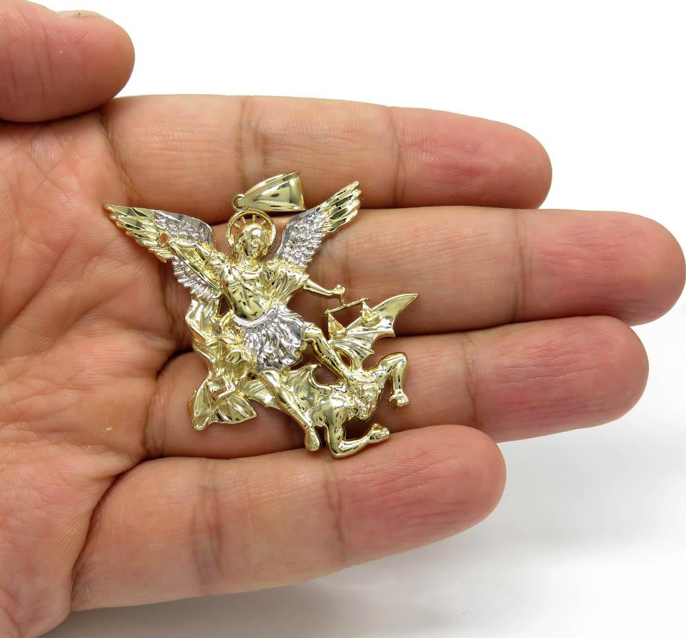 10k yellow gold angel vs demon large pendant
