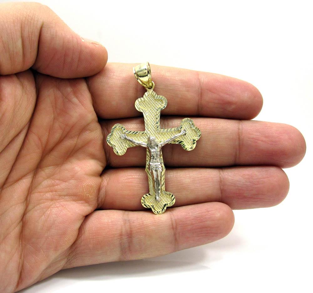 10k yellow gold two tone jesus cross pendant
