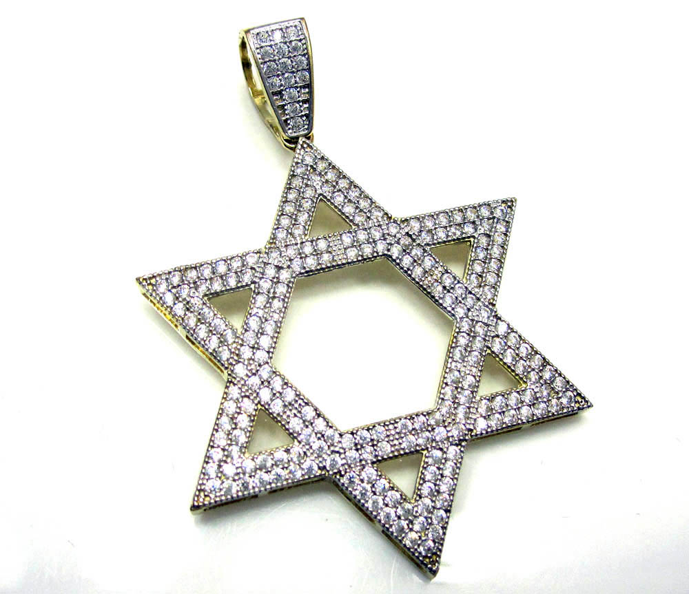 10k yellow gold jewish star of david pendant