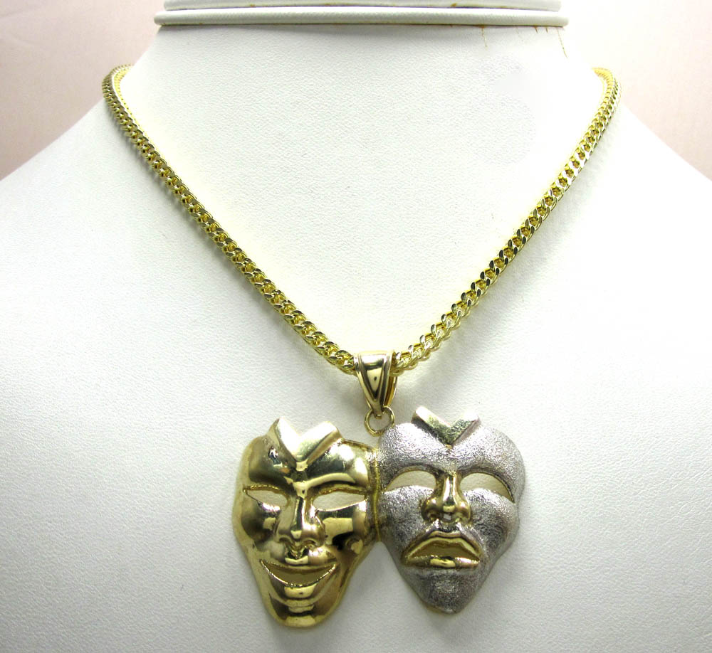 10k yellow gold two tone laugh now cry later pendant