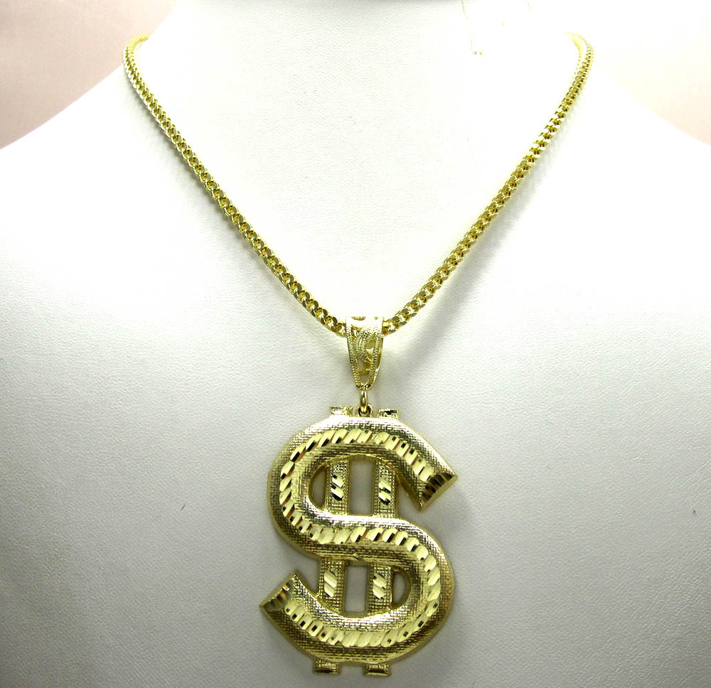 10k yellow gold dollar sign pendant