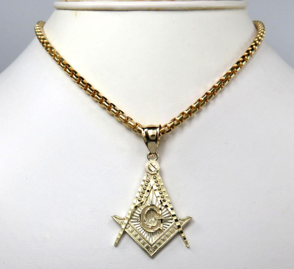 10k yellow gold free mason medium size pendant