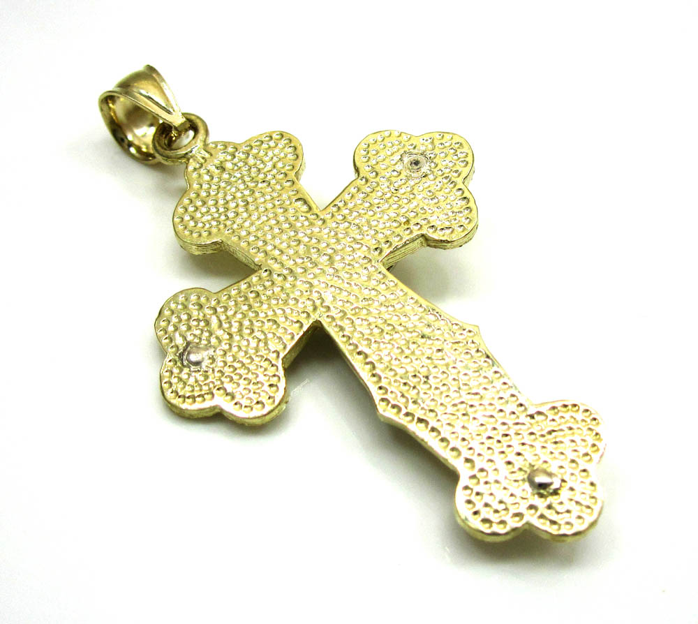 10k yellow gold two tone jesus cross pendant