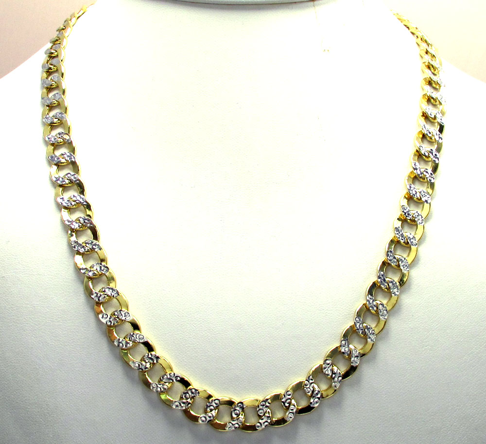 10k yellow gold thick diamond cut cuban chain 24-26 inch 9.5mm