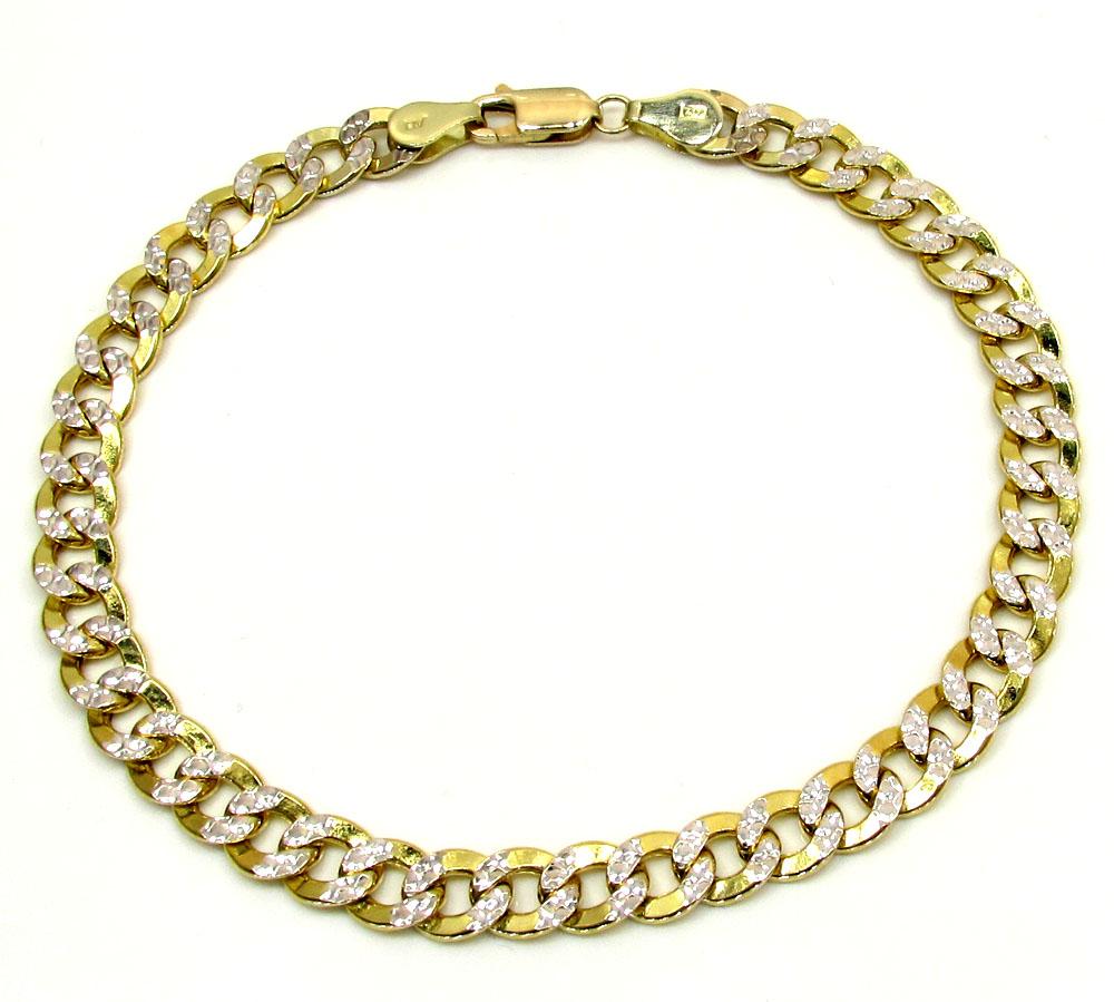10k yellow gold diamond cut cuban bracelet 8 inch 6.3mm
