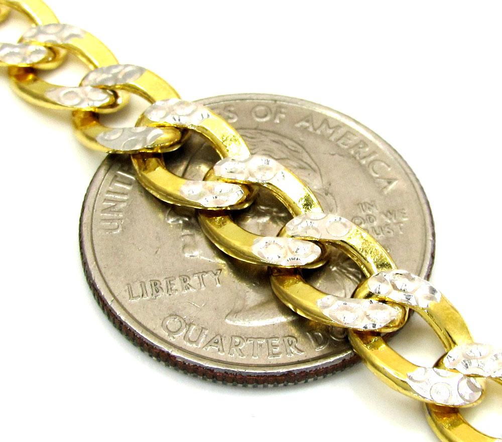 10k yellow gold diamond cut cuban bracelet 8.5 inch 7.6mm