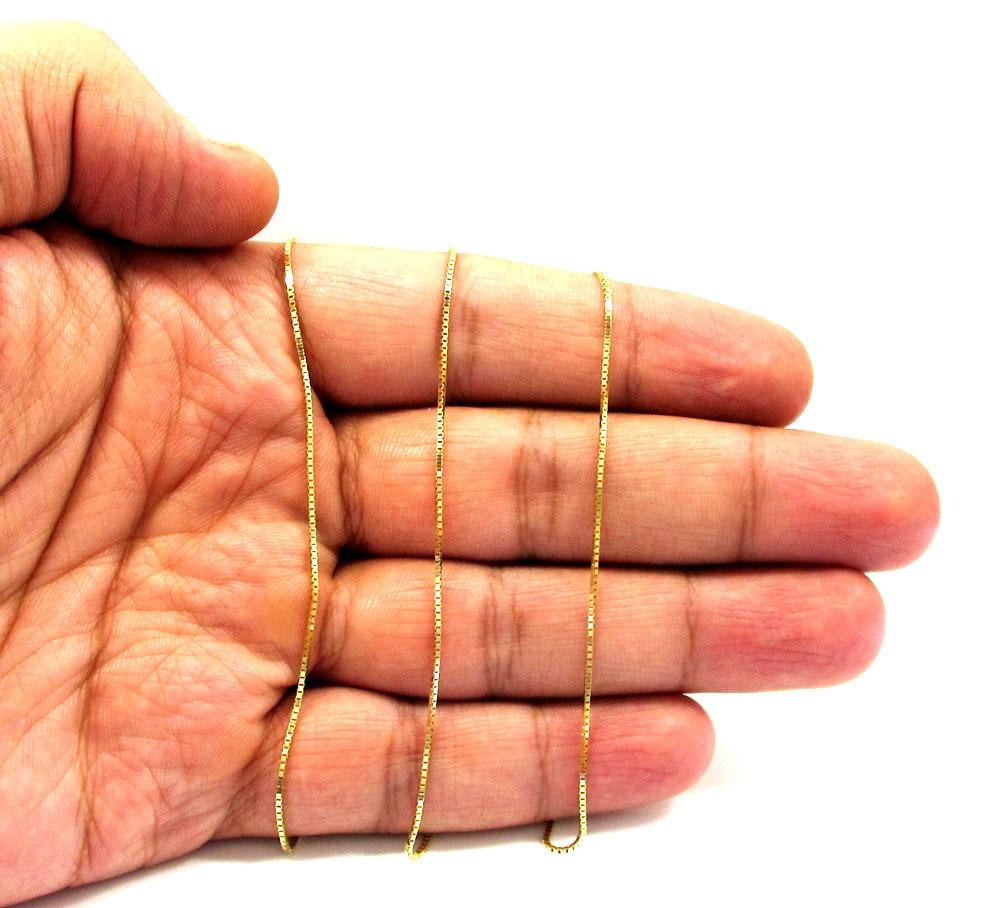 10K Yellow Gold Skinny Box Link Chain 16 24 Inch 1 0mm