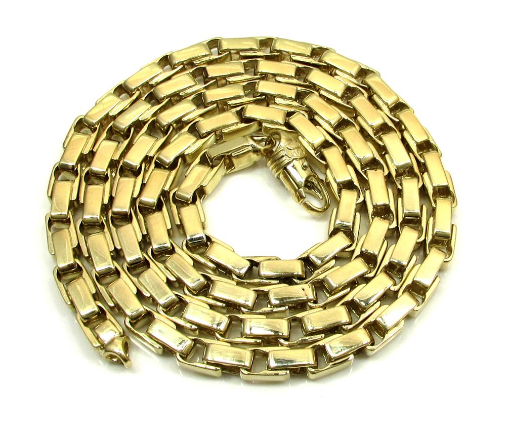 10k yellow gold fancy box bullet chain 30 inch 6mm