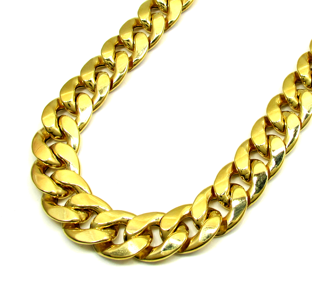 10k yellow gold one sided diamond cut cuban chain 30 inch 13.20mm