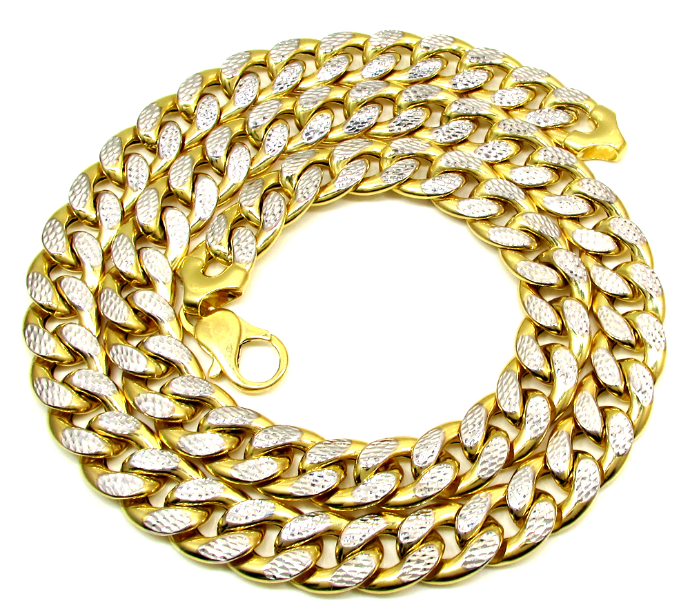 10k yellow gold one sided diamond cut cuban chain 28 inch 15.50mm