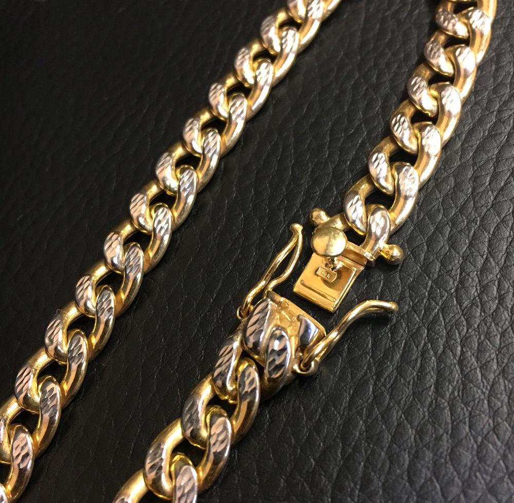 10k yellow gold one sided diamond cut cuban bracelet 9 inch 8.40mm