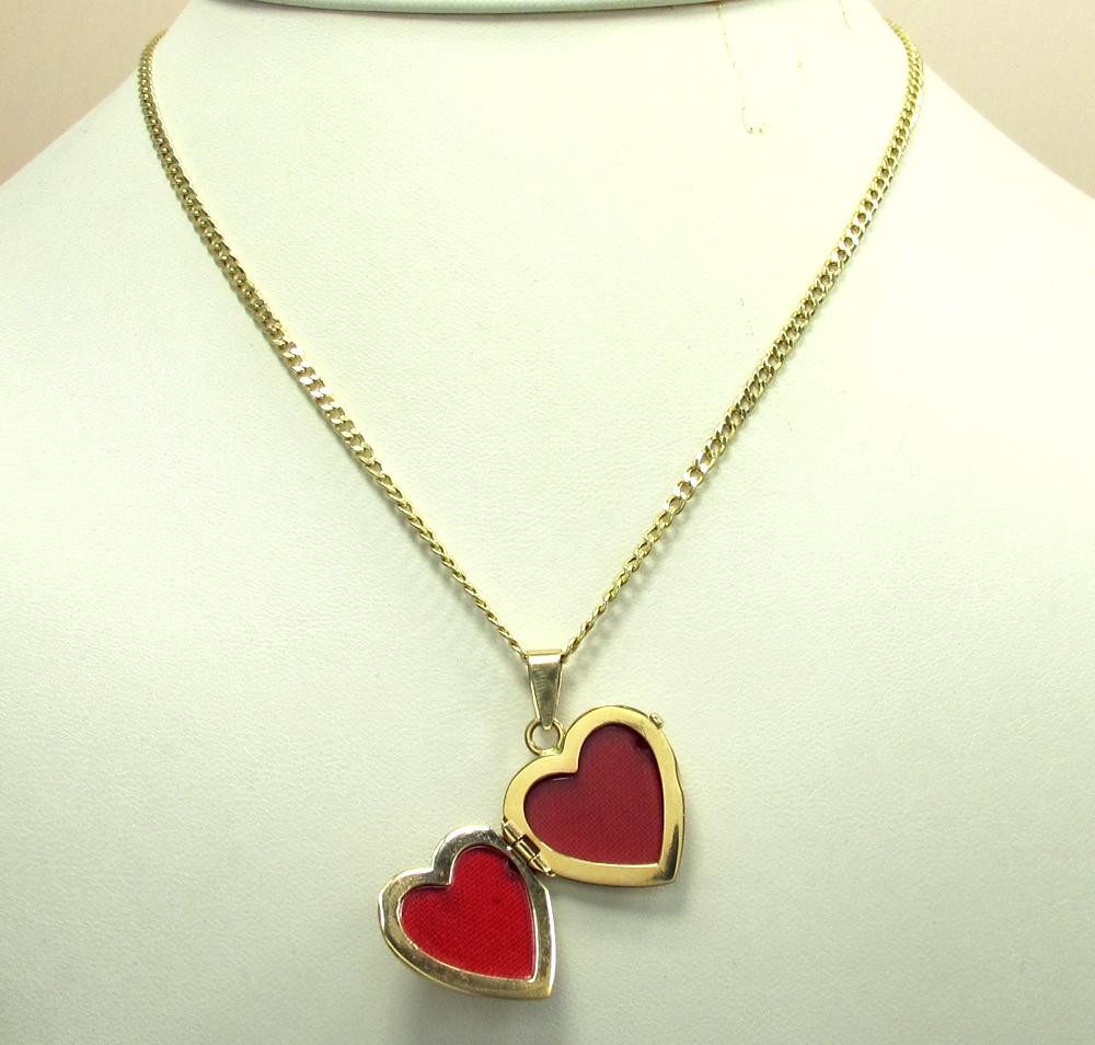 14k yellow gold picture heart locket pendant