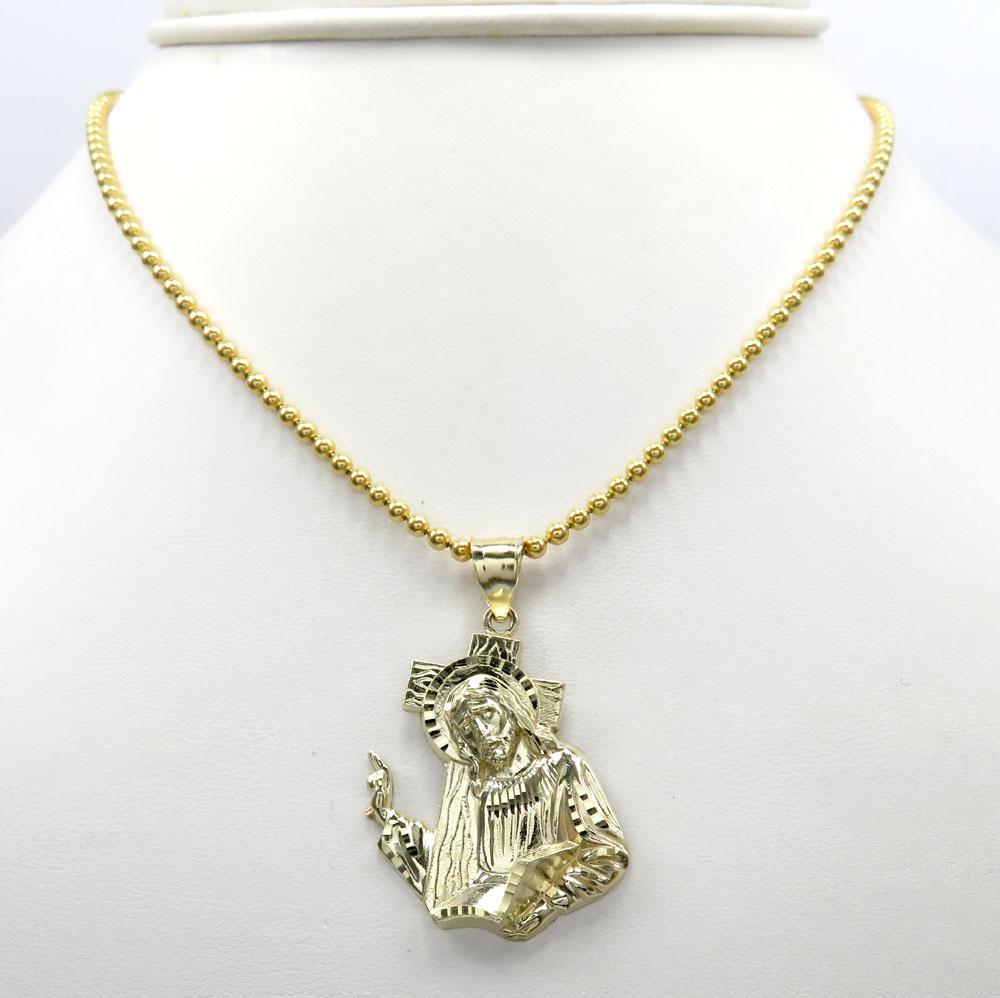 10k yellow gold jesus carrying cross medium pendant