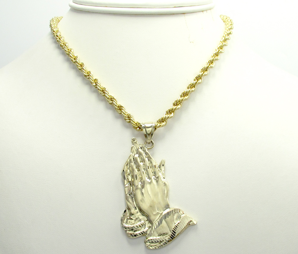 Mens 10k yellow gold large praying hands pendant