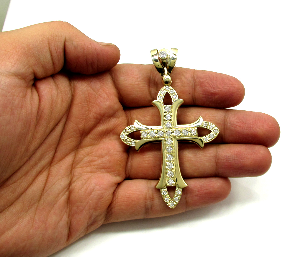Mens large 10k yellow gold cz cross pendant 150ct aloadofball Image collections