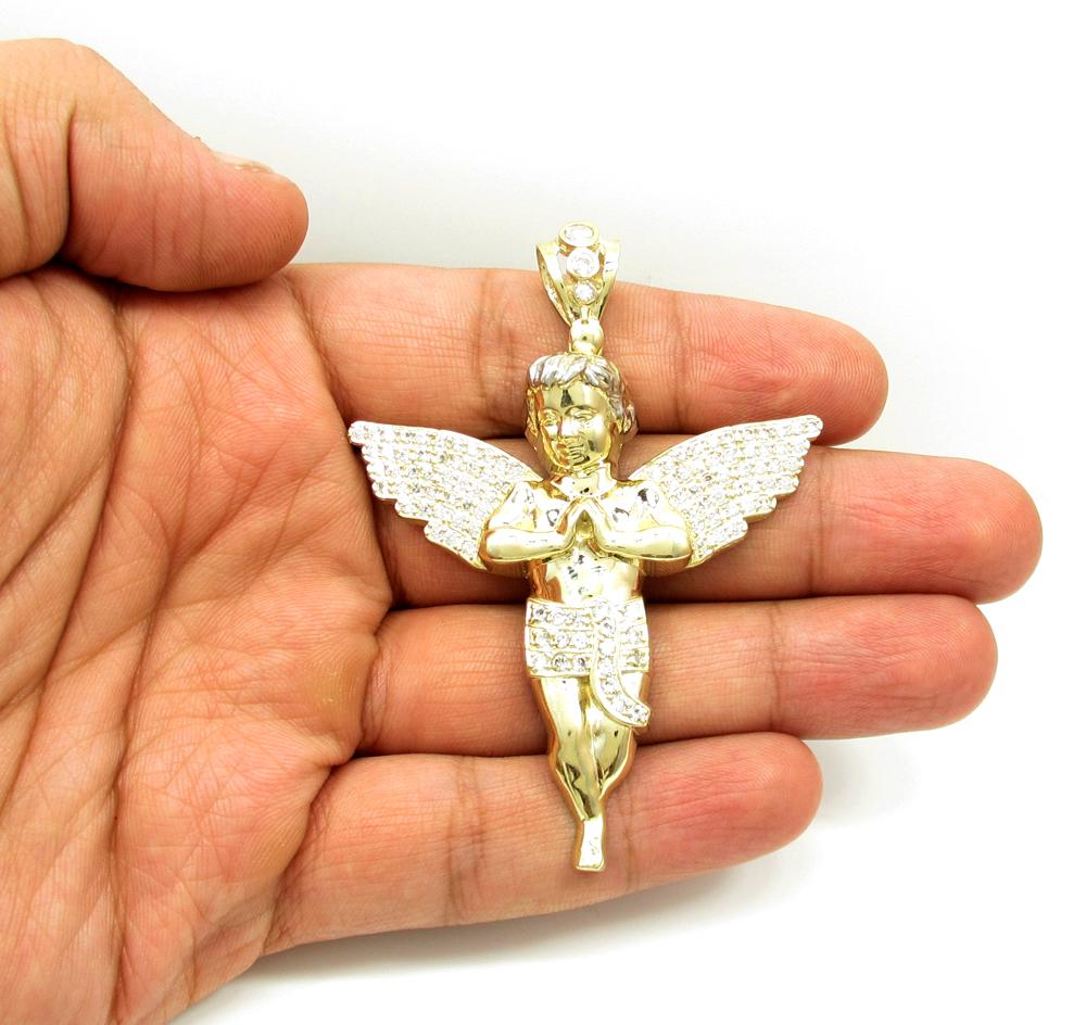 10k yellow gold large baby cherub angel pendant 3.75ct