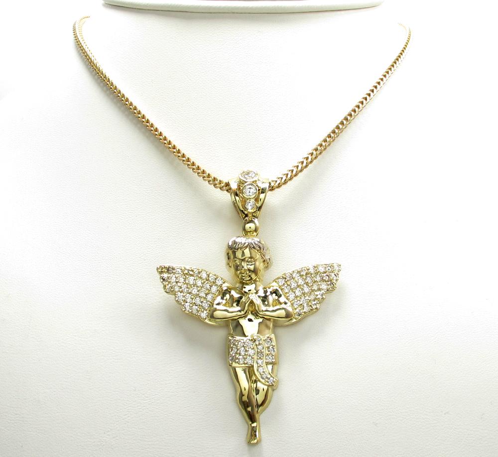 10k yellow gold medium baby cherub angel pendant 3.00ct