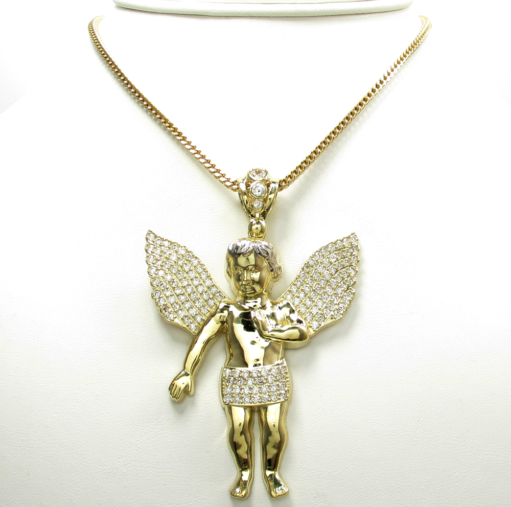 10k yellow gold medium baby cherub pendant 3.15ct