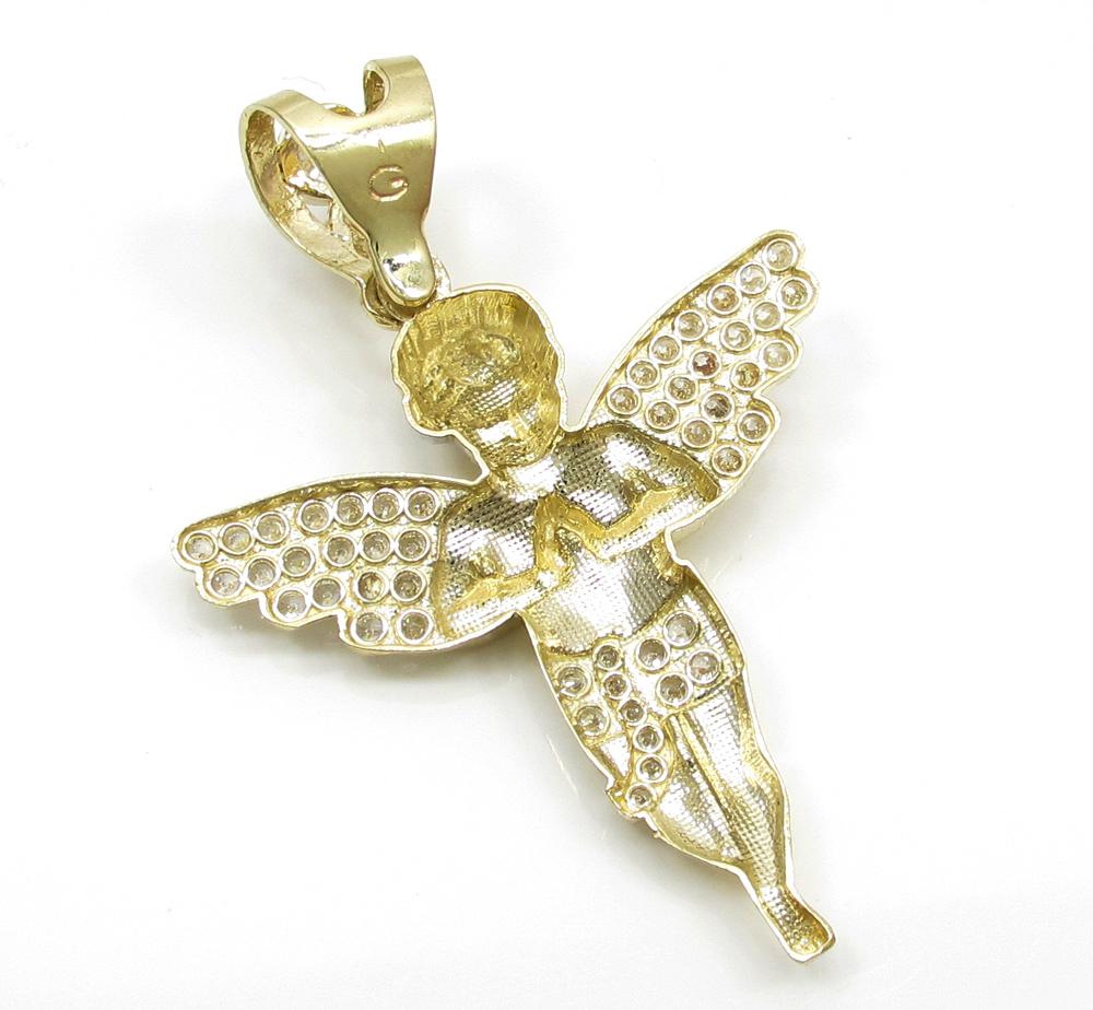 10k yellow gold small baby cherub angel pendant 2.50ct