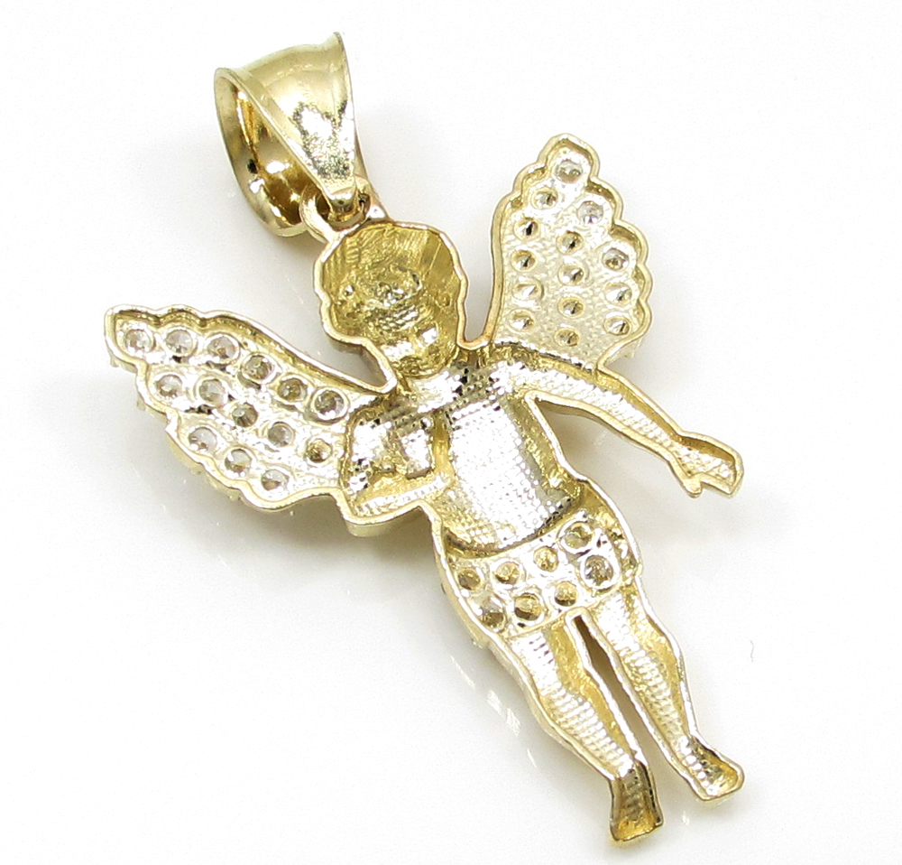 10k yellow gold small baby cherub angel pendant 1.50ct