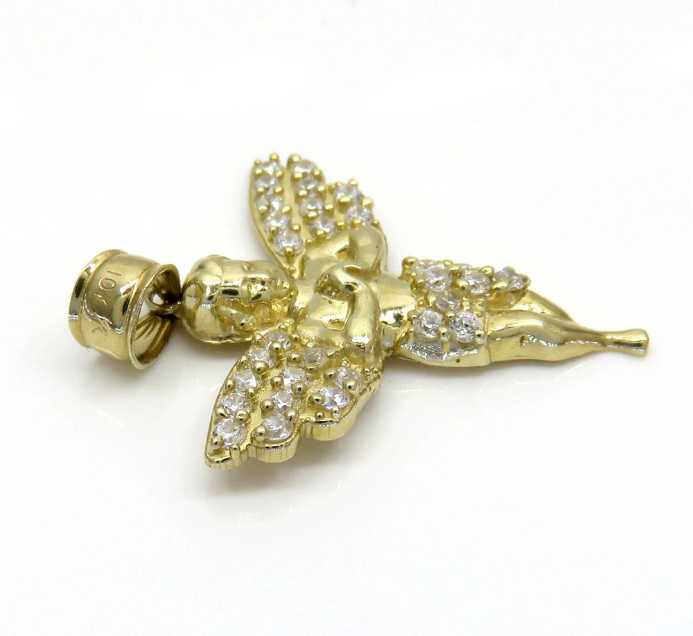 10k yellow gold mini baby cherub angel pendant 1.50ct