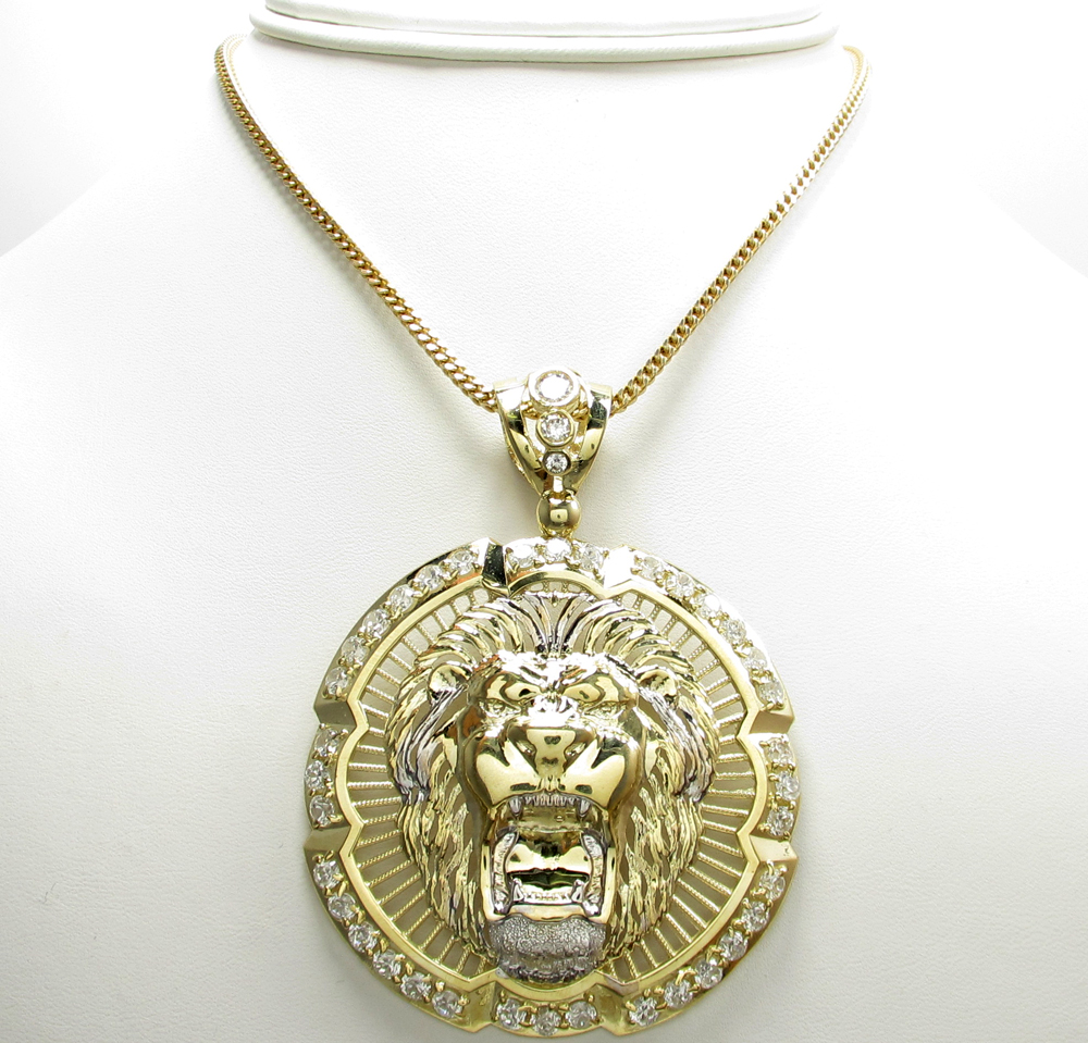 10k yellow gold lion head halo pendant 200ct mozeypictures Image collections