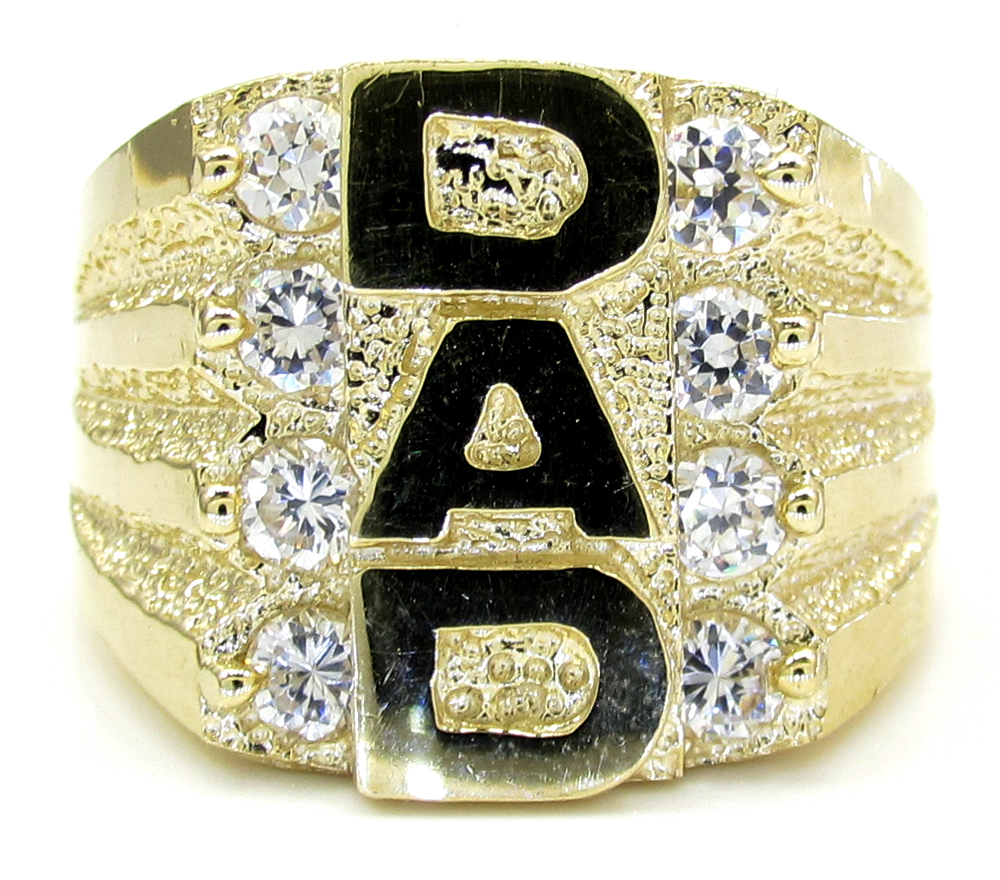 Mens 10k yellow gold fathers day dad ring .80ct