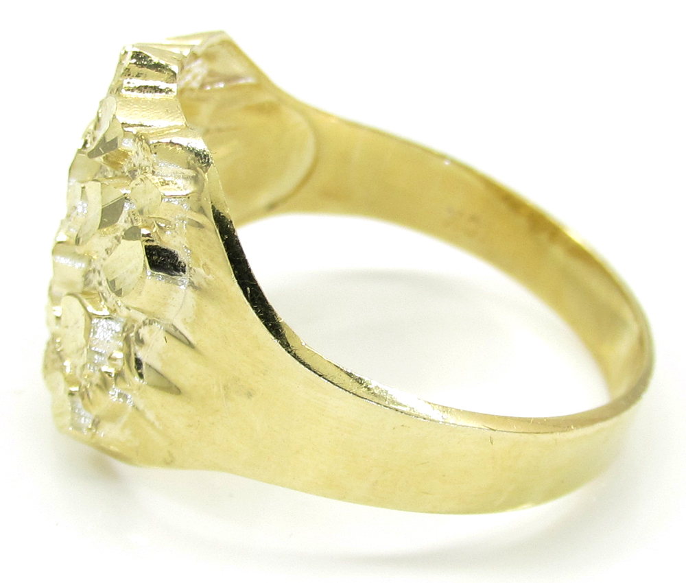 Mens 10k yellow gold large nugget ring