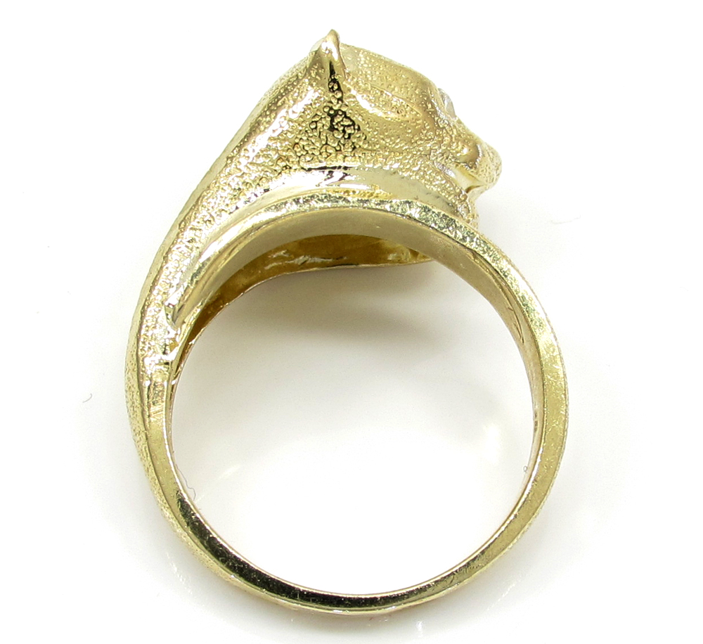 10k yellow gold panther head ring .50ct