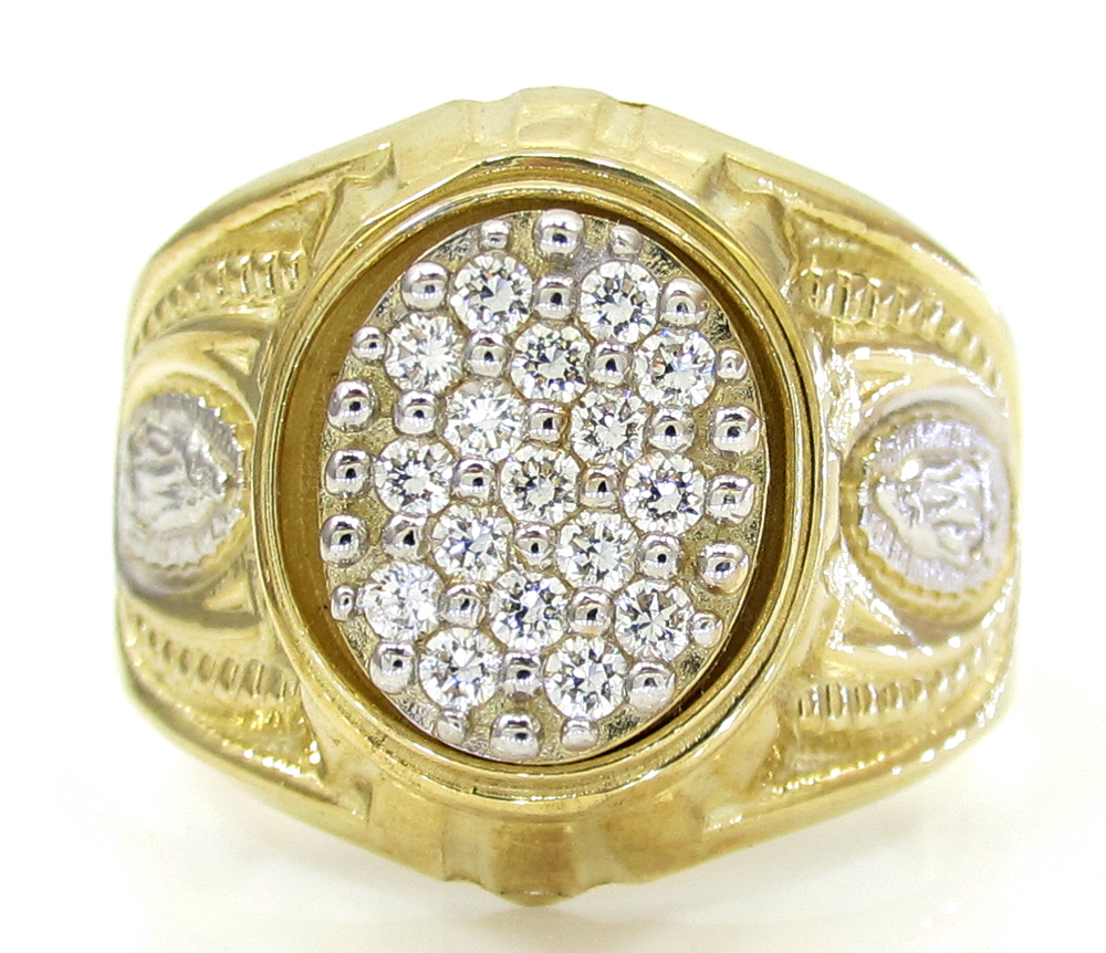 10k yellow gold cz virgin mary ring 1.50ct