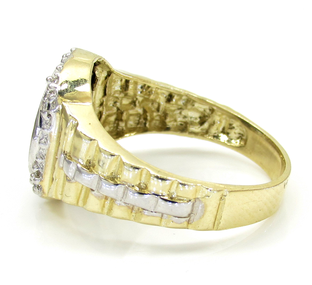 10k yellow gold two tone diamond suit ring 0.20ct