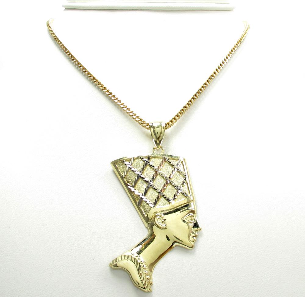 10k yellow gold two tone nefertiti large pendant